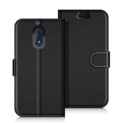 COODIO Handyhülle für Nokia 6 Handy Hülle, Nokia 6 Hülle Leder Handytasche für Nokia 6 Version 2017 Klapphülle Tasche, Schwarz