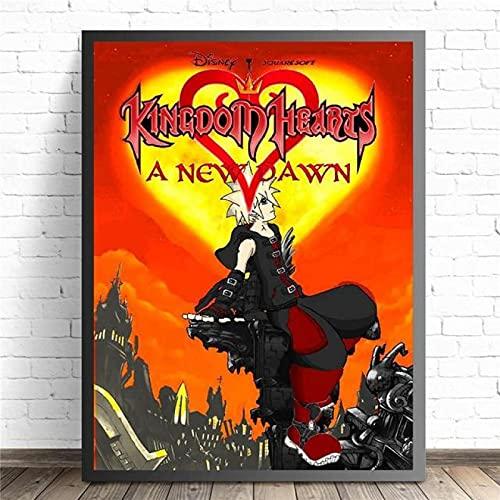 YYAYA.DS Murale in Tela Kingdom Hearts Cartoon Remix Design Poster e Stampe Wall Art Decor Picture Home Decor 60x90cm