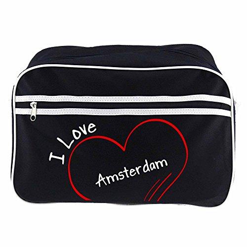 Retrotasche Modern I Love Amsterdam schwarz