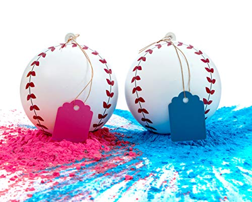 Gender Reveal Baseball Set - 2 Baseballs (1 Blue Ball, 1 Pink Ball) Exploding with Powder - Best Idea for Boy or Girl Baby Sex Revealing Party