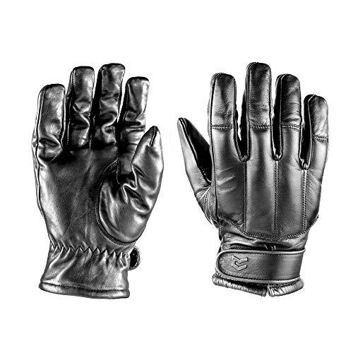 OBRAMO Quarzsand Lederhandschuhe Einsatzhandschuhe Tactical Security, Schwarz, M