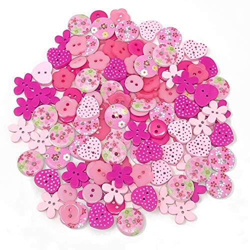 Wedding Touches Knöpfe aus Holz und Acrylharz, Pink Mix, zum Basteln, Verzieren, 150Stück