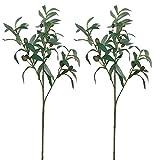 Aisamco 2 Piezas Plantas de Olivo Artificial Ramas en Verde 28'Tall Artificial Verdor arreglo Floral para la decoración de la Boda en casa