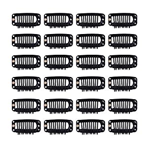 24 pcs/lot 32mm 9-teeth Hair Extension Clips Snap Comb Clips Metal Clips Wig Clips Hair Clips for Wigs Hair Extensions Hairpiece Wig Accessories Clips with Rubber Silicone Back (Black)