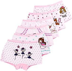 LeQeZe Braguitas Bóxer Ropa Interior para Niñas 2-11 años(Paquete de 6)(Girls-01,8-9 años)
