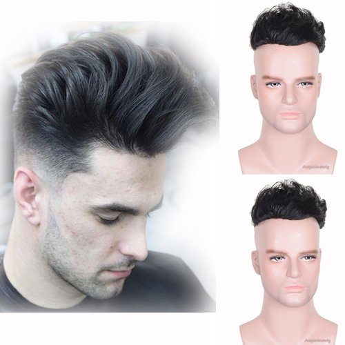 Auspiciouswig - Piezas de pelo humano natural para hombre, tupé, peluca, fina mono con PU para hombres de 20 x 15 cm