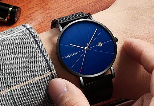 Voigoo Uhr-Mann-Mode Marke Herrenuhren Quarz-Ultra dünne Stahlgitter-Bügel-beiläufige Sport-Mann-Uhr-Schwarz Relogio Masculino