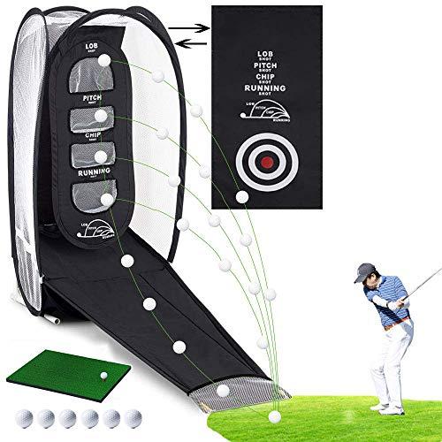LOY Faltbares Golf-Schlagnetz Professionelles Praxis-Outdoor-Golf-Chipping-Netz mit Golf-Trainingsmatte und 6 Golfbällen