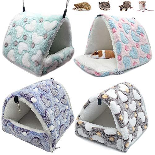 LeerKing Hamster Hammocks RatHouseBedHutShed Guinea Pig Cage Bedding for Bird SquirrelHedgehogChinchillaNest Tent,Blue,S