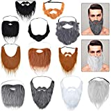 12 Pieces Halloween Fake Beard Funny Costume Whiskers Facial Hair Disguise Accessories with Adjustable Elastic Rope for Males, Costume Party, Cosplay Supplies
