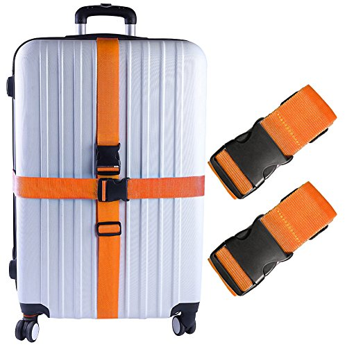 Darller 2 PCS Luggage Straps Suitcase Belts Travel Accessories Bag Straps, Orange, One Size