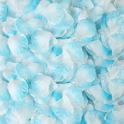 BESKIT 3000 Pieces Rose Petals Artificial Flower Silk Petals for Valentine Day Wedding Flower Decoration (Light Blue&White)