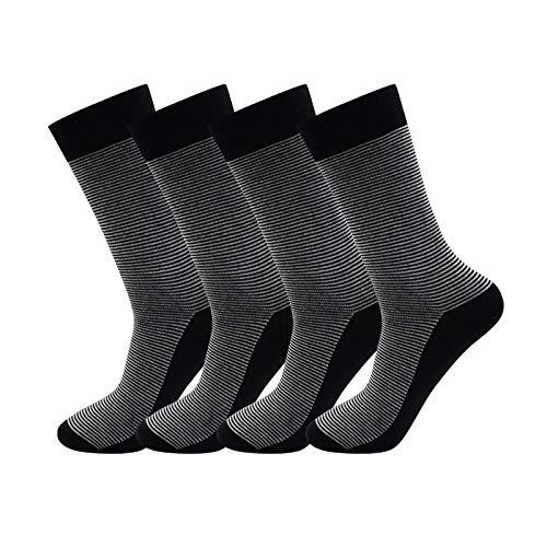 Sneakers sokkennonchalant, hoge kwaliteit, gestreept, zweetabsorberende, ademende deodorant-hoogslang herensokken met 4 paar A-stijlvolle, hoogwaardige, gestreepte, zweetabsorberende