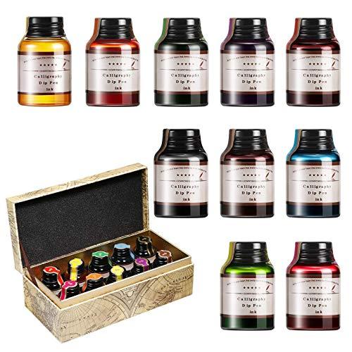 GCQUILL Kalligraphie Tuschen Set 10 Farben in 21 ml Flaschen, untereinander mischbar, Bunte Inks Tintenglas mit Geschenkbox für Anfänger Geburtstagsgeschenk