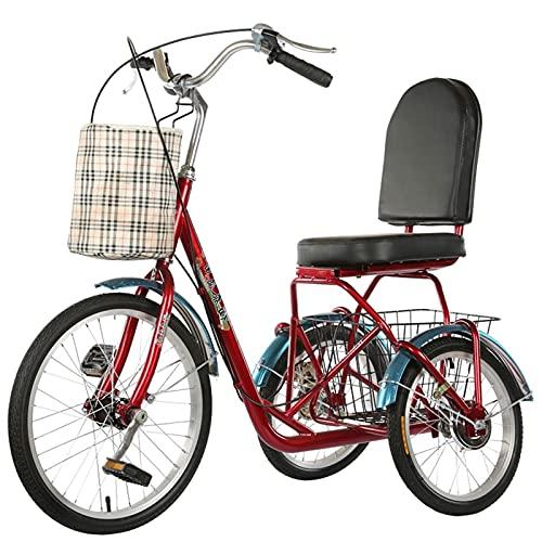 SN Triciclo para Adultos, Trike Bicicleta Reclinada 3 Ruedas con Cesta Grande Delantera Trasera Personas Mayores para Hombres Mujeres Picnics Y Compras (Color : Red)