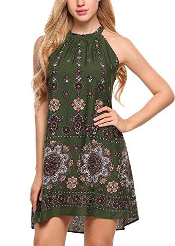 BLUETIME Women's Casual Sleeveless Halter Neck Boho Print Short Dress Sundress (S, Army Green)