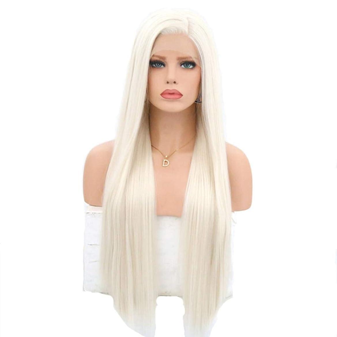スカリー合唱団究極のSummerys 耐熱性女性用フロントレースかつらホワイトロングストレートケミカルファイバーウィッグ (Size : 22 inches)