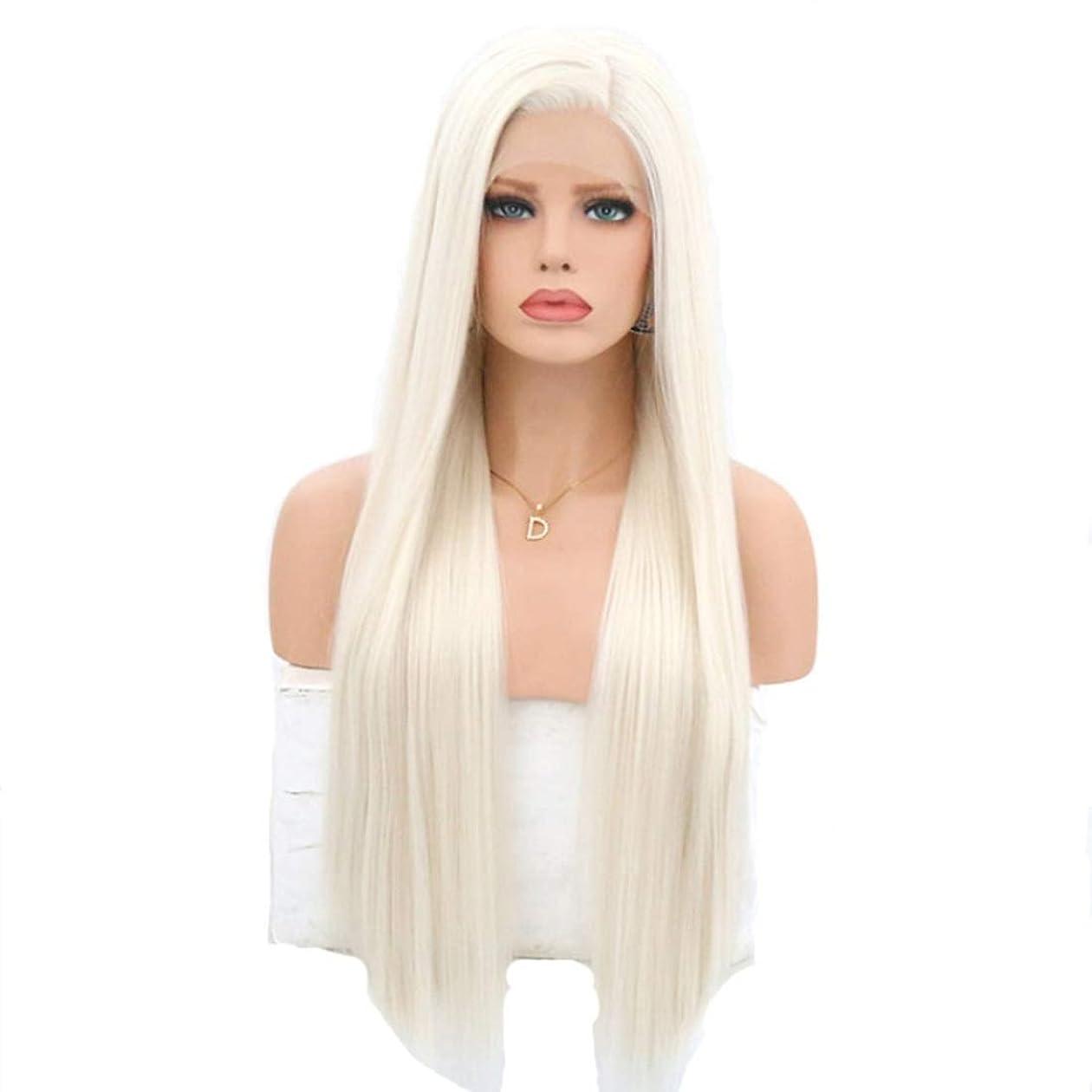 ゆでる帰るブラシSummerys 耐熱性女性用フロントレースかつらホワイトロングストレートケミカルファイバーウィッグ (Size : 22 inches)