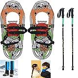 XYLUCKY Raquetas de Nieve para niños 4 en 1 de aleación de Aluminio de 16'para niños y niñas de hasta 100 Libras con Bastones de Trekking y Guantes de esquí y Polainas Impermeables para Las piernas,B
