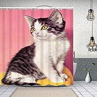 シャワーカーテン白と灰色の子猫 防水 目隠し 速乾 高級 ポリエステル生地 遮像 浴室 バスカーテン お風呂カーテン 間仕切りリング付のシャワーカーテン 150 x 180cm