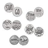 DANFORTH - Bag of Decisions Pocket Charms - 5 Coins - Pewter - Handcrafted - 1 1/16 Diameter - Navy Organdy Pouch - Made in The USA