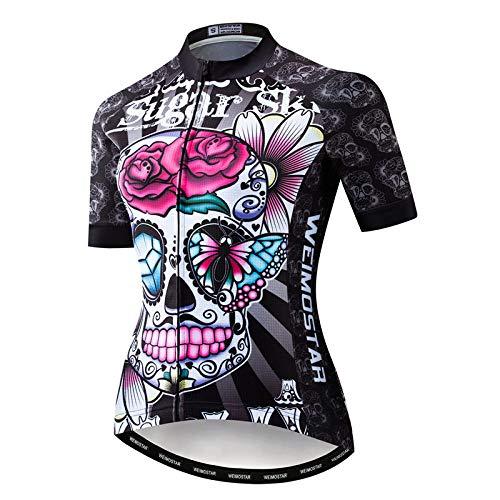 WEJFFAN Radsport-Anzüge Für Damen,Butterfly Skull Neue Sommer Kurze Ärmel Atmungsaktiv Quick-Dry Team Trikot Mantel Shirts Rennrad MTB Outdoor Sportbekleidung,XL