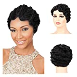 Baruisi Black Short Nuna Wigs Pixie Wigs for Women Synthetic Finger Wave Curly Hair Wig