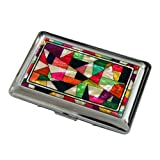 Mother of Pearl Yellow Red Green Patchwork Mosaic Design Engraved Metal Stainless Steel Cigarette Holder Case Storage Box