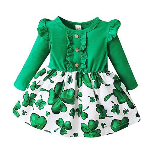 Vestido de manga larga con volantes para niñas con estampado de trébol verde
