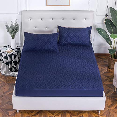 CYYyang Protector de colchón - cubrecolchón Transpirable Espesar sábana de Cama con Todo Incluido-Azul Zafiro_1.8 * 2m