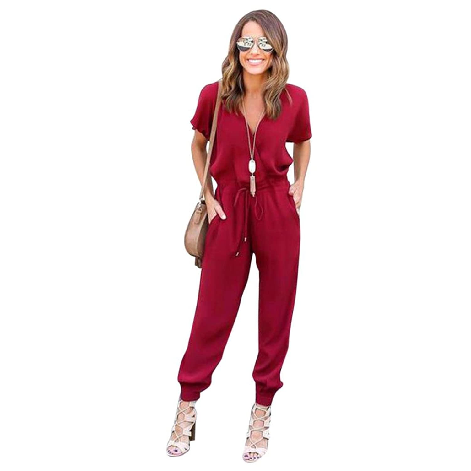 (Medium, Red) - Hatoppy, Women Chiffon Solid Short Sleeve Clubwear Playsuit Bodycon Party Jumpsuit Romper (M, Red)