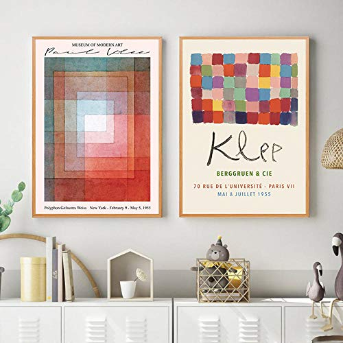JRLDMD Paul Klee Posters Impresiones en Lienzo Arte de Pared clásico Imágenes de Estilo Abstracto Decoración Moderna Pintura de Acuarela Decoración de exposición 50x70cmx2 Sin Marco