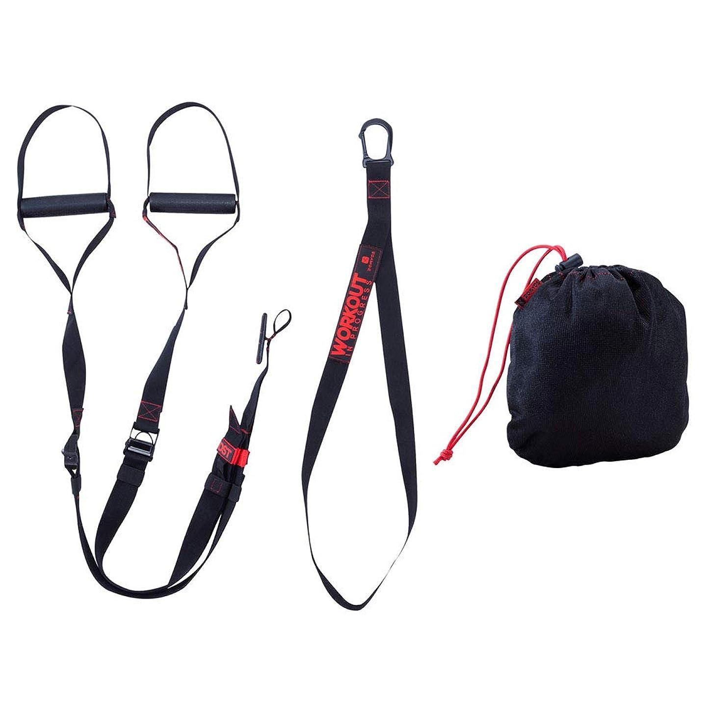 アクセサリー確立ホイッスル吊り訓練ベルトプルロープホームフィットネス弾力ベルト抵抗ベルト強度トレーニング (色 : 黒)