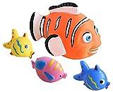 Idena 40458 Badetiere im Netz, 4 verschiedene Figuren mit Spritzfunktion, Badewannenspielzeug für...