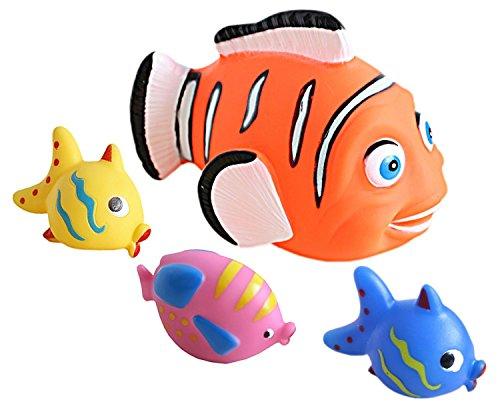 Idena 40458 - Badetiere im Netz, 4 verschiedene Figuren mit Spritzfunktion, Badewannenspielzeug für Kinder und Babys
