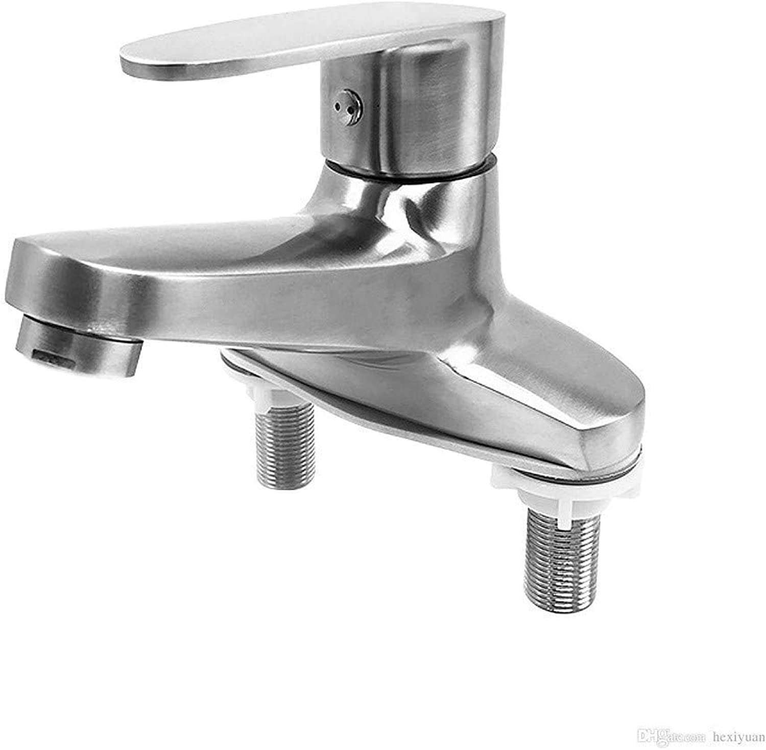 Oudan 304 Stainless Steel Sink Faucet Double Hole Hot and Cold Basin Faucet (color   -, Size   -)
