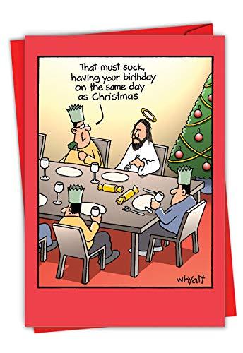 Birthday Suck - Funny Religious Merry Christmas Card with Envelope (4.63 x 6.75 Inch) - Happy Birthday Jesus Christ, Cartoon Holiday Joke Card for Xmas - Season's Greetings Stationery 1690