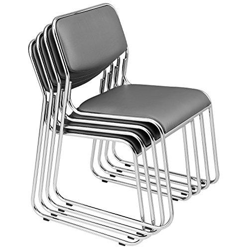 [pro.tec] 4x Sedie per visitatore (grigie - imbottite)(in un set di risparmio) sedia di conferenza/sedia / sedia d´ufficio/sedia / sala d´attesa - sedia