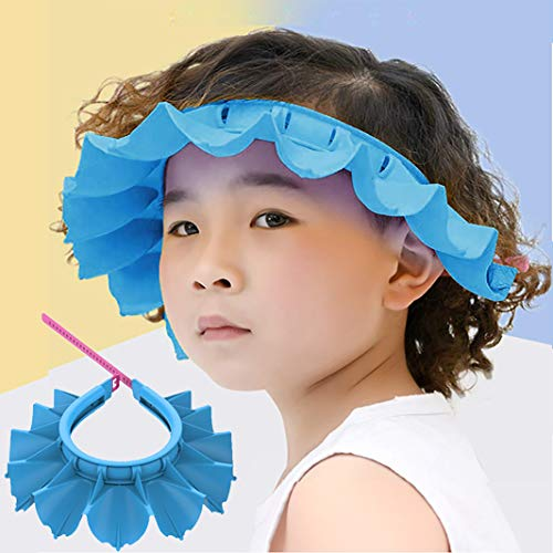 Baby Shower Cap Silicone Bathing Hat, Adjustable Shower Cap Kids, Infants Soft Protection Hat Safety Visor Cap Hat for Toddler Children (Blue, Big Size (1-12 Years old/16.5-22.8 Inches))