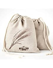(11x15 inch) Linen Bread Bags - 2-Pack Ideal for Homemade Bread, Unbleached, Reusable Food Storage, Housewarming, Wedding Gift, Storage for Artisan Bread - Bakery & Baguette