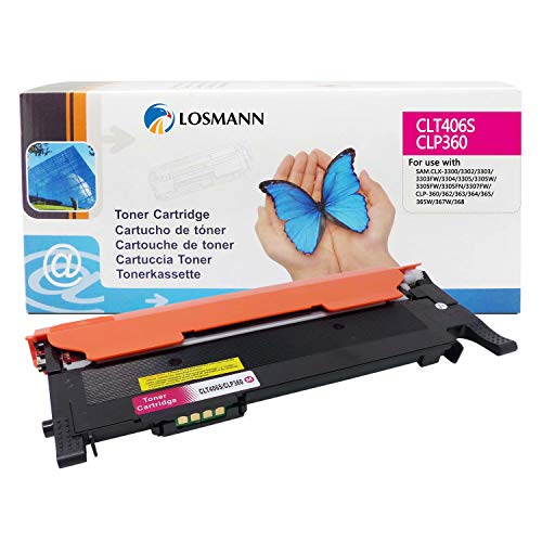 LOSMANN CLT-M406S Toner Compatible para Samsung CLT-M406S CLP-360 para Samsung Xpress C460W C410W C460FW C460 CLX-3305 3300 3305FW 3305FN 3305W 3305N CLP-360 365 365W 360N 368 360ND (1x Magenta)