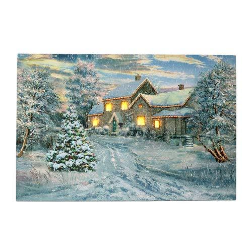 LED Bild Winter Villa, Wandbild, Leuchtbild, Leinwand, 40x60