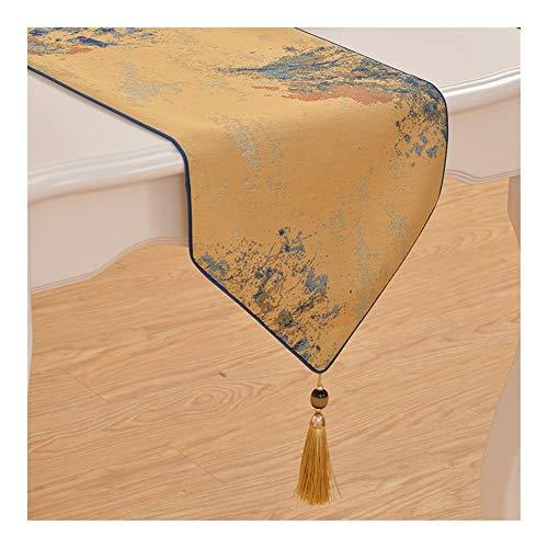 Home Tischläufer Sinn for Mode minimalistischen Stil Tischläufer Tischfahne Home (Color : Golden, Size : 34x160cm)