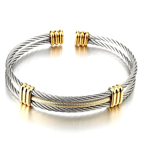 COOLSTEELANDBEYOND Mens Women Stainless Steel Twisted Cable Adjustable Cuff Bangle Bracelet Silver Gold Two Tone David Yurman Gold Bracelet