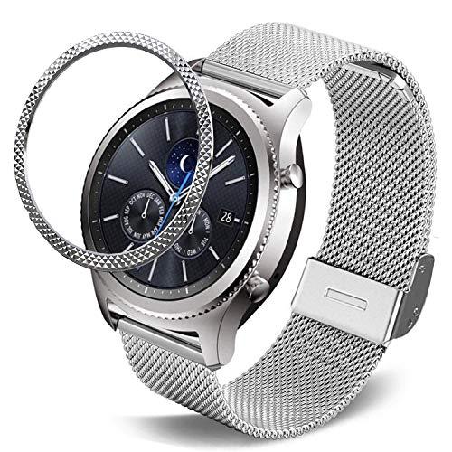 DEALELE Correa compatible con Samsung Gear S3 Frontier/Classic/Galaxy Watch 46 mm, 22 mm pulsera de malla de acero inoxidable con bisel de metal, carcasa de repuesto para mujeres y hombres, plata