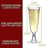 Sektgläser Plastik 50 Stück Einweg Champagnergläser 0,1l Bruchfest – Glasklar – Höhe 16cm - 5