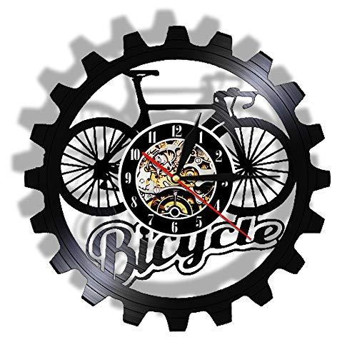 Eld 30 cm Relojes de Bicicleta Pared Decoración para el hogar Diseño de Bicicleta Cambio de Color Moda Disco de Vinilo Moderno Engranaje Retro Reloj de Garaje Música Arte Registro Relojes de Pared