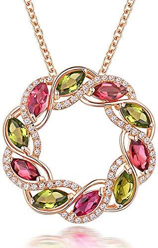ketting Natuurlijke Toermalijn 14kt Rose Goud Diamond Engagement Vrouwen Hanger