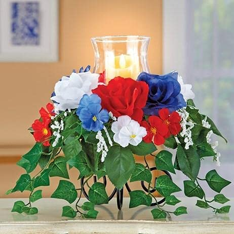 New Orleans Mall Outlet sale feature Ojis Ecart LED Lighted Patriotic Arran Lamp Glass Hurricane Rose