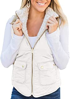 Ofenbuy Womens Reversible Vest Fuzzy Fleece Zip Up Sleeveless Lightweight Casual Fall Jackets Outerwear with Pockets
